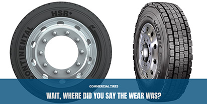 Commercial truck tire tread generally wears differently than passenger tire tread